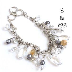 Vintage Style Crystal Charm Bracelet Silver Tone